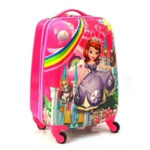 Детский пластиковый чемодан 16-Sofia-2 для девочек. 45см