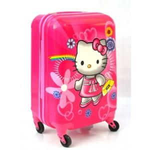 Детский пластиковый чемодан 20-Hello-Kitty-1. 55см для девочек