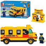 Конструктор SLUBAN 303213R/M38B100  школьный автобус, 105 дет, фигурка