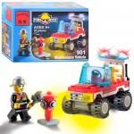 Конструктор BRICK 901  Пожарная тревога,  машинка,  62 дет,  фигурка