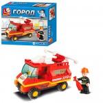 Конструктор SLUBAN M38-B0173  пожарная машина,  фигурка,  74дет