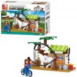 Конструктор SLUBAN M38-B0557  ферма,  конюшня,  лошадь,  фигурки,  110дет