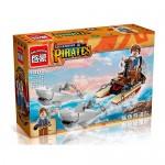 Конструктор BRICK 1302  пиратская серия, лодка,  акулы,  фигурка,  45дет