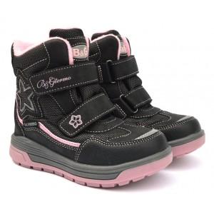 Термоботинки B&G R191-1208 черно-розовые, сапоги на мембране