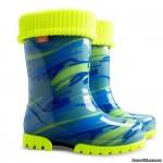 Резиновые сапоги DEMAR TWISTER LUX FLUO d (Желто-голубая мозаика)